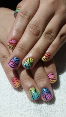 Rainbow Zebra Shellac Nails